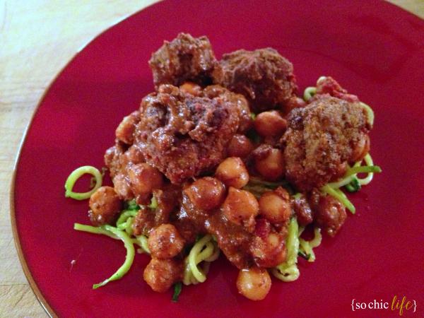 Curry Meatballs & Zucchini Pasta