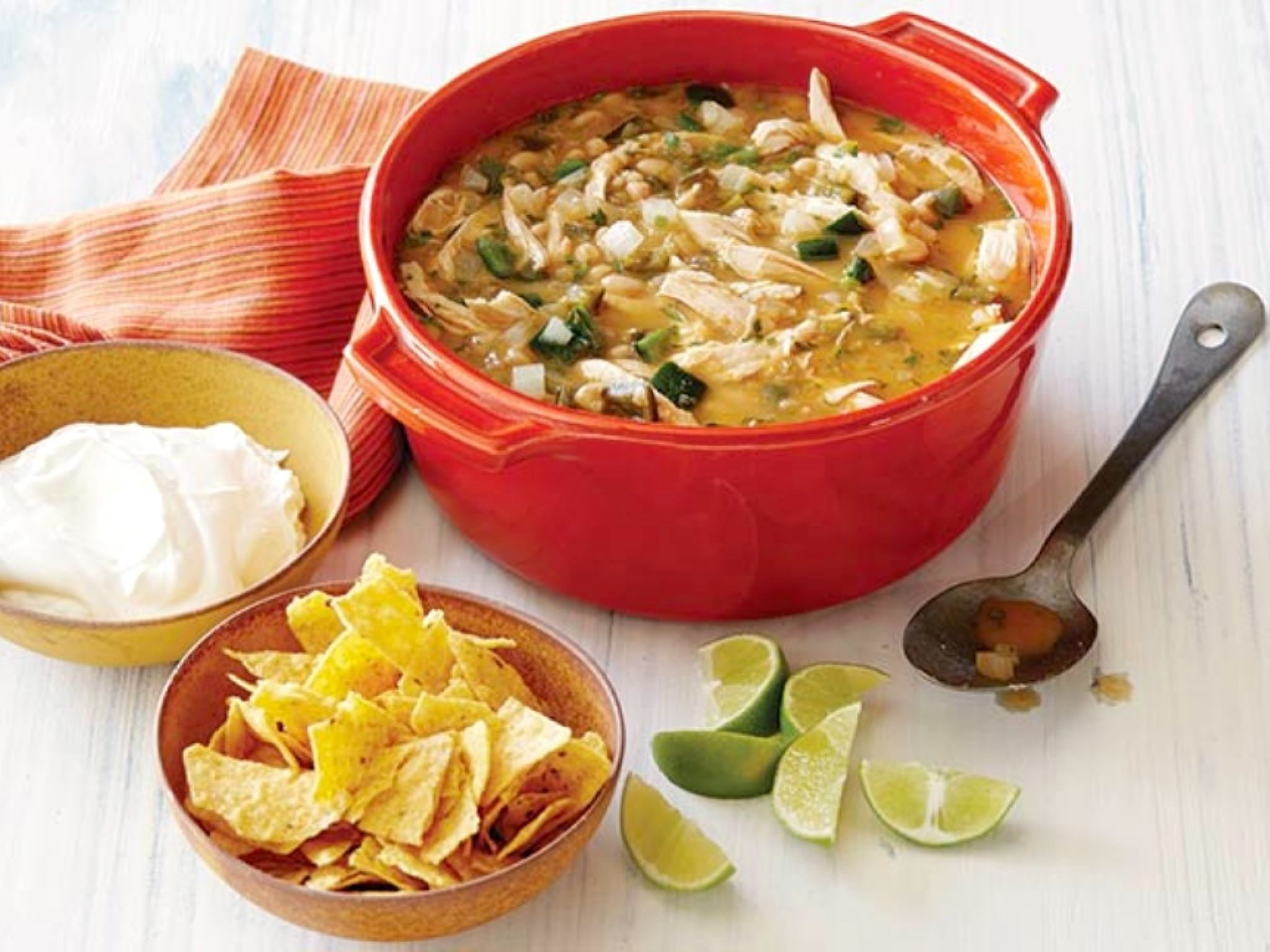 My favorite Healthy Mexican Chicken Chili Recipe is super fast to prep and full of flavor. Originally inspired by Dave Lieberman's Mexican Chicken Stew, I've made it even better!