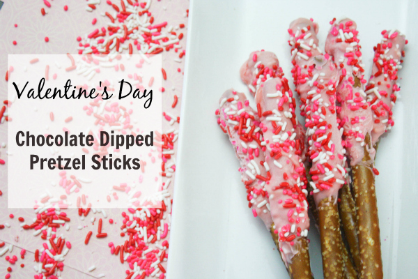 Valentine's Day Chocolate Dipped Pretzel Sticks