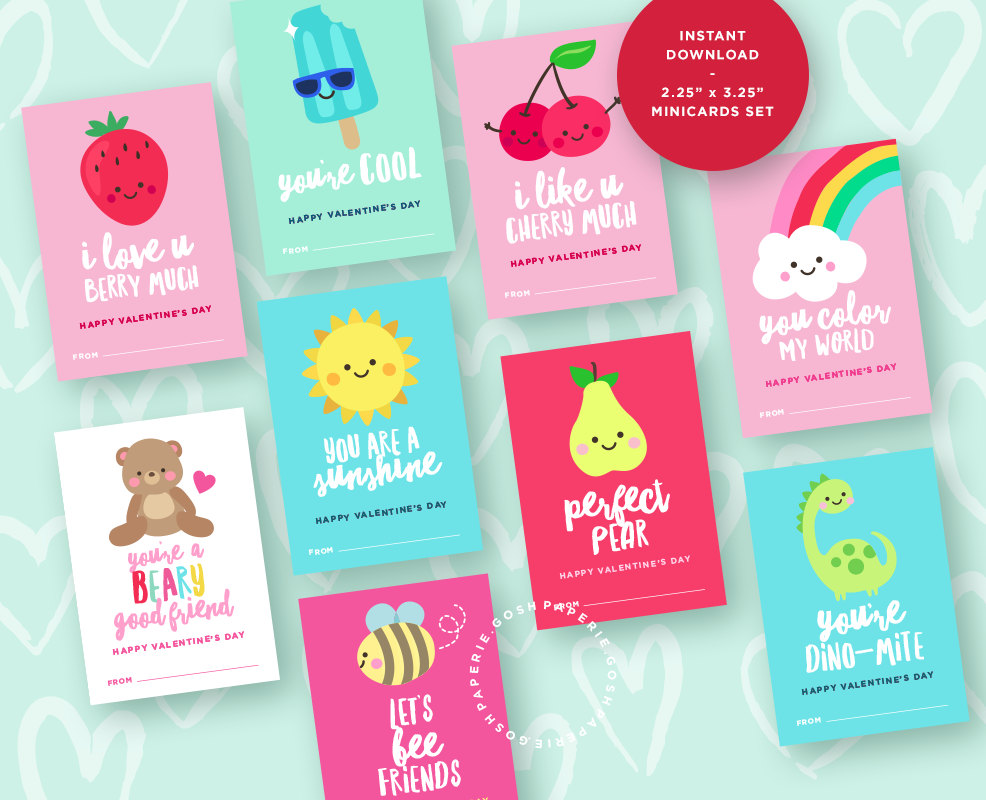 Printable Valentine's Day Cards you can purchase, download and print from the comfort of home. Short on time this DIY Valentine's project makes life easy for every busy mom!