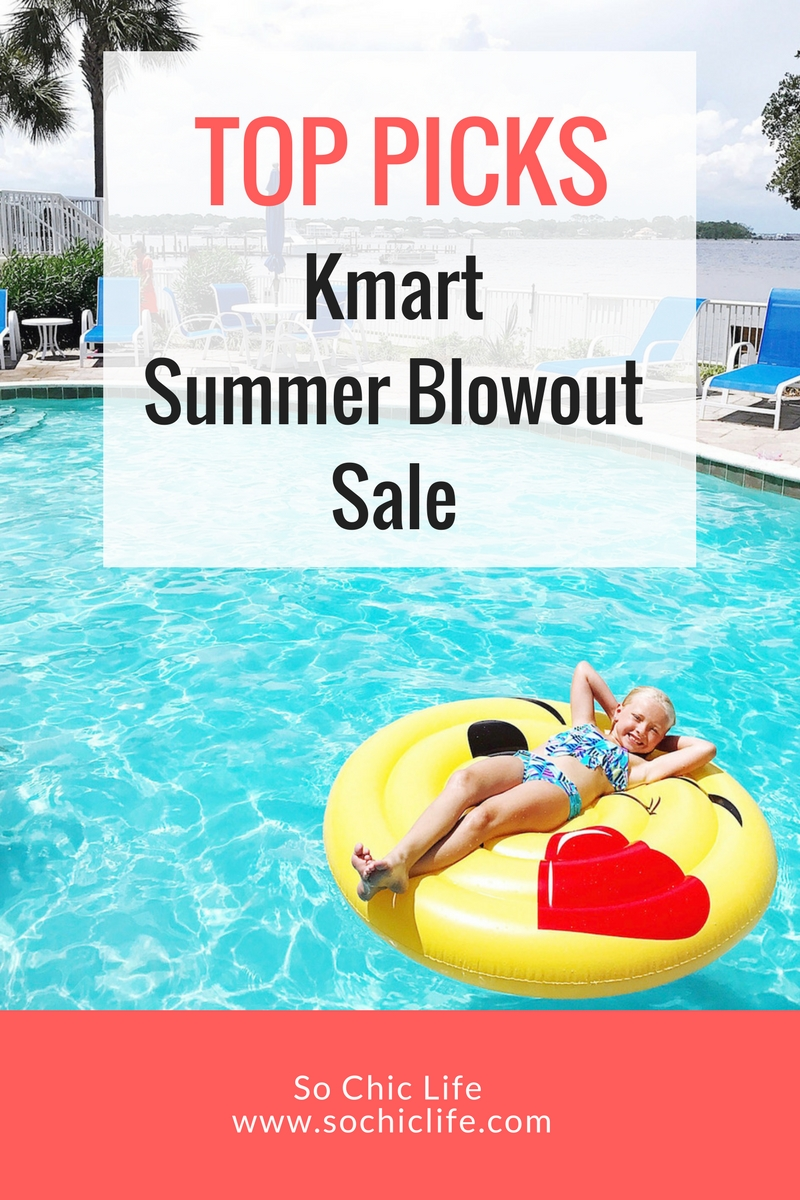 Kmart Summer Blowout Sale offers 10-40% off in all departments {excluding grocery items} + 50% off on summer favs like apparel, footwear, home decor, toys. Visit www.SoChicLife.com to check out the deals we scored!