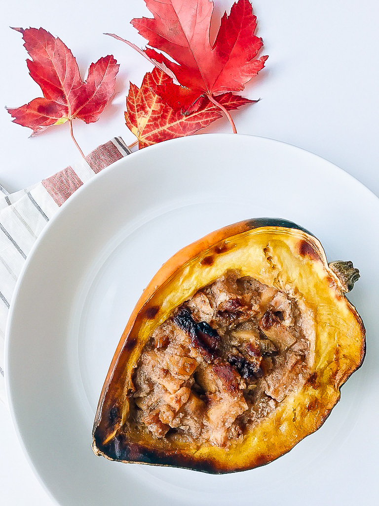 This Baked Apple Stuffed Acorn Squash is Keto approved and will rock your world! Fall and winter rolls around and I'm obsessed with cooking winter squash.