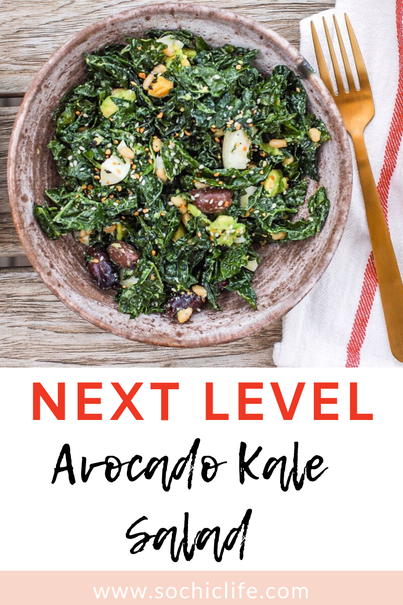 The best avocado kale salad ever!! The avocado, lemon, pine nuts and EVERYTHING Bagel Seasoning take it to the next level. I promise this will be your new favorite salad!