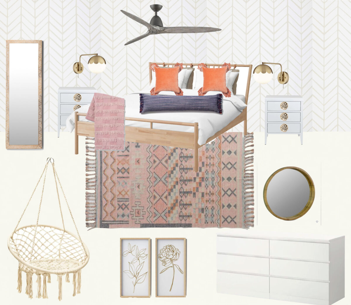 Boho Teen Girl Bedroom Design Mood Board